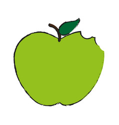Whole green apple fruit icon image vector