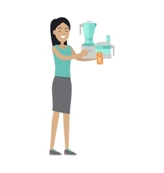 Woman buys food processor on sale at low price vector