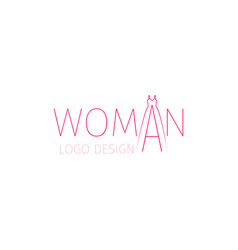 woman logo with word and dress vector image vector image