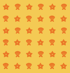 Yellow color pattern of shells and starfish vector