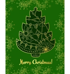 Merry Christmas card with golden tree and vector image
