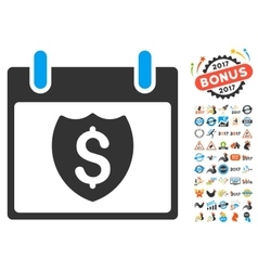 Financial shield calendar day flat icon vector