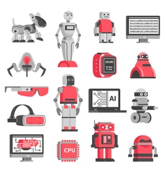 Artificial intelligence decorative icons set vector