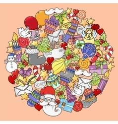 Merry christmas mandala set of xmas colorful vector image