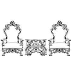 Rich baroque rococo armchair and table set french vector