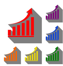 growing graph sign set of red orange yellow vector image