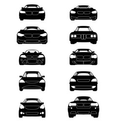 Ten cars silhouettes vector