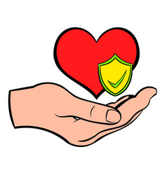 Hand holding red heart icon cartoon vector