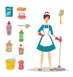 Housewife girl homemaker cleaning pretty girl wash vector