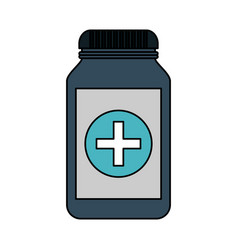 Color image cartoon remedy bottle with lid and vector