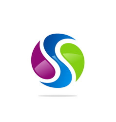 round letter s colored logo vector image