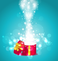 Christmas glowing background with open round gift vector