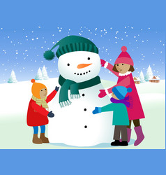 Children and snowman vector