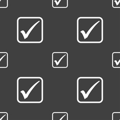 A check mark icon sign seamless pattern on a gray vector