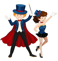 Magician and his assistant in blue outfit vector