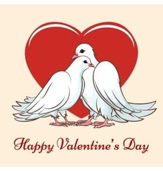 Valentine day couple dove vector image