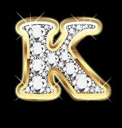 Letter k gold and diamond vector