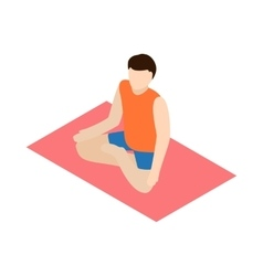 Man in yoga lotus pose icon isometric 3d style vector