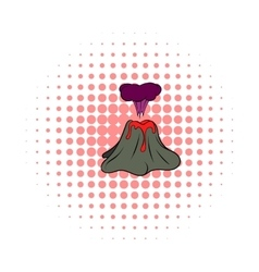Volcano erupting icon comics style vector image