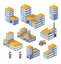 Buildings in the isometric vector image