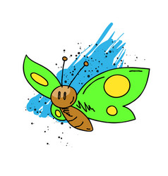 butterfly cartoon hand drawn image vector image vector image