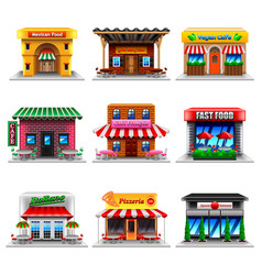 cafe and restaurants icons set vector image vector image