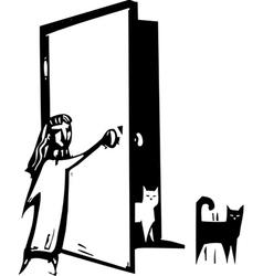 Cat Door vector image