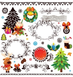 Christmas and New Year decoration set vector image vector image