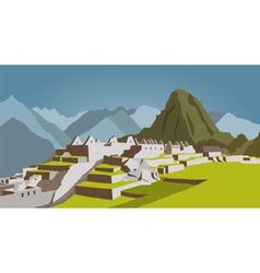 City buildings graphic template peru machu picchu vector