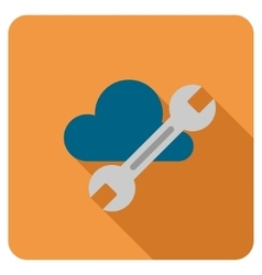 Cloud tools flat rounded square icon with long vector