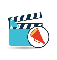 concept cinema clapper and megaphone icon desgin vector image