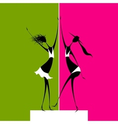 Girls dancing on scene vector image vector image