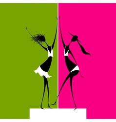 Girls dancing on scene vector image