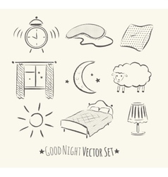 Good night set vector image