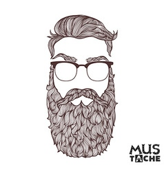 Hand Drawn Mustache Beard and Hair Style vector image