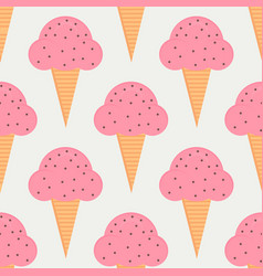 Ice cream seamless pattern in flat style vector