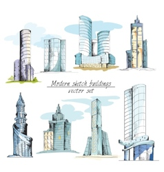 Modern sketch buildings colored vector