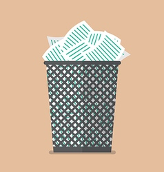 Paper in the trash can vector image vector image