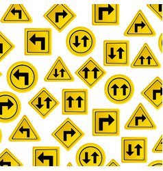 pattern road traffic sign with arrows set vector image vector image