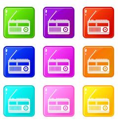 Retro radio icons 9 set vector