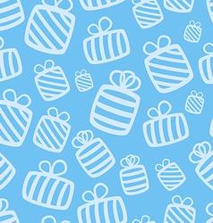 Seamless blue gift pattern vector