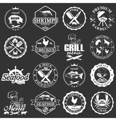 Set of seafood labels and butcher shop labels vector