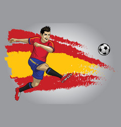 Spain soccer player with flag as a background vector