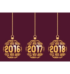 Spanish new year elements for years 2016-2018 vector