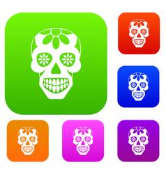 sugar skull flowers on the skull set color vector image