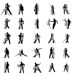 Tango dance silhouettes set vector image