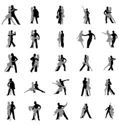 Tango dance silhouettes set vector