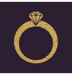 The ring icon Diamond and jewelry wedding symbol vector image