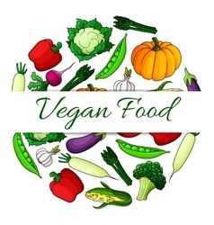 Vegan food emblem with round shape of vegetables vector