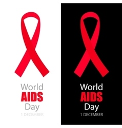 World aids day background with red ribbon vector